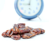 Dried dates (fruits of date palm Phoenix dactylifera). Royalty Free Stock Photos