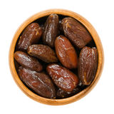 Dried Deglet Nour dates in wooden bowl over white Royalty Free Stock Image