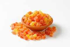 Dried diced papaya Stock Images
