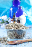 Dried dill seeds. In a glass bowl for flavoring, aromatherapy or a spa treatment Stock Images