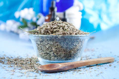 Dried dill seeds. In a glass bowl for flavoring, aromatherapy or spa treatment Royalty Free Stock Photography