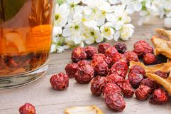 Dried dog rose, rosehips, apples and tea Royalty Free Stock Image