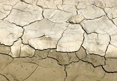 Dried earth. With many cracks. Сhange from wet to dry stock photography