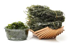 Dried edible seaweed. On a white background Stock Photo