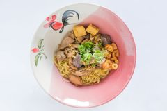 Dried Egg noodles with chicken and chicken blood jelly. Thai food royalty free stock photography
