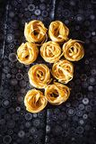 Top view of egg tagliatelle, dried, on the table Royalty Free Stock Photo