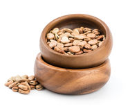 Dried fava broad bean in a rustic wood bowl Royalty Free Stock Images