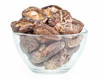 Dried field mushrooms in a glass bowl Royalty Free Stock Photo