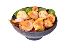 Dried fig in ceramic bowl Stock Images