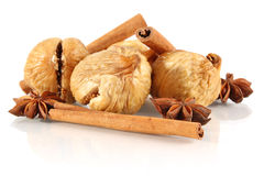 Dried fig with cinnamon and truestar anisetree. On white background Stock Photo
