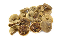 Dried figs. Stack figs on a white background Royalty Free Stock Photo
