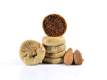 Dried figs and almonts. Dried figs and almonds isolated on white background Royalty Free Stock Image