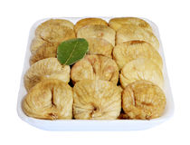Dried figs in the box on a white background, Stock Photo