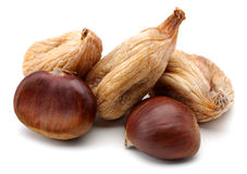 Dried figs and chestnut Stock Photography