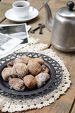 Dried figs, coffee pot, cup of coffee and vintage cards Stock Photography