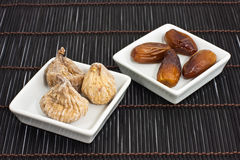Dried figs and dates Royalty Free Stock Images
