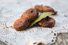 Dried figs pastries. Dried figs with almonds, a traditional pastry from Puglia, south of Italy Stock Images
