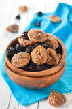 Dried figs and plums in the bowl Royalty Free Stock Photography