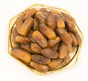 Dried figs on a polished bronze Iranian saucer Stock Photos