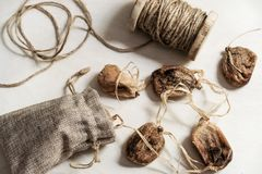 Dried figs on the string; healthful food. Close-up shot royalty free stock photography