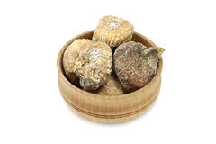 Dried figs in a wooden bowl Royalty Free Stock Image