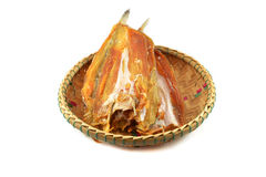 Dried Fish on basket Royalty Free Stock Photo