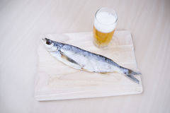 Dried fish with beer Royalty Free Stock Photography