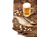 Dried fish and beer Royalty Free Stock Image