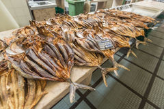 Dried fish on display on a market.  Stock Photo