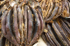 Dried fish on display on a market. Madeira, Portugal Royalty Free Stock Images