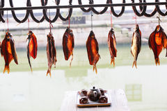 Dried fish drying Royalty Free Stock Photo