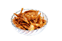 Dried fish on the glass bowl on white background Royalty Free Stock Photo