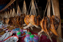 Dried fish. In Lao market Stock Photos