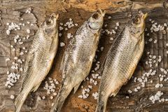 Dried fish lies on a wooden surface royalty free stock photography