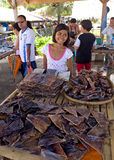 Philippines - Girl Selling Dried Fish Stock Photos