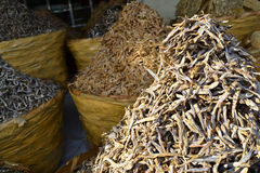 Dried fish. On the market stall stock photo