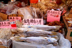 Dried fish for sale in the Chinese Market Stock Image