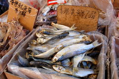 Dried fish for sale in the Chinese Market Stock Photos