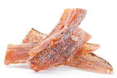 Dried fish sated snack. With pepper on white Royalty Free Stock Photos