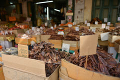 Dried fish, seafood product at market from Thailand. Royalty Free Stock Photo