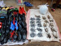 Dried fish and shoes for sale in market in Mozambique stock image