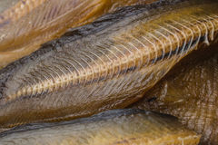 Dried fishbone. Snake-head dried fish at the market in Thailand Royalty Free Stock Images