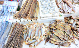 Dried fishes selling at market Royalty Free Stock Photo