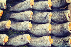 Dried fishs of local food at open market Royalty Free Stock Photos