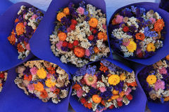 Dried flower bouquets at a market Royalty Free Stock Photos