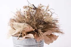 Dried flowers. And leaves in bucket Royalty Free Stock Photos