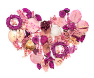 Dried flowers arranged to form a heart. Royalty Free Stock Photography