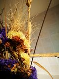 Dried flowers being arranged as ikebana Stock Photos
