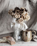 Dried Flowers, Bread & Cup Still Life Royalty Free Stock Image