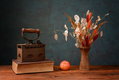 Dried flowers in a ceramic vase Royalty Free Stock Photo